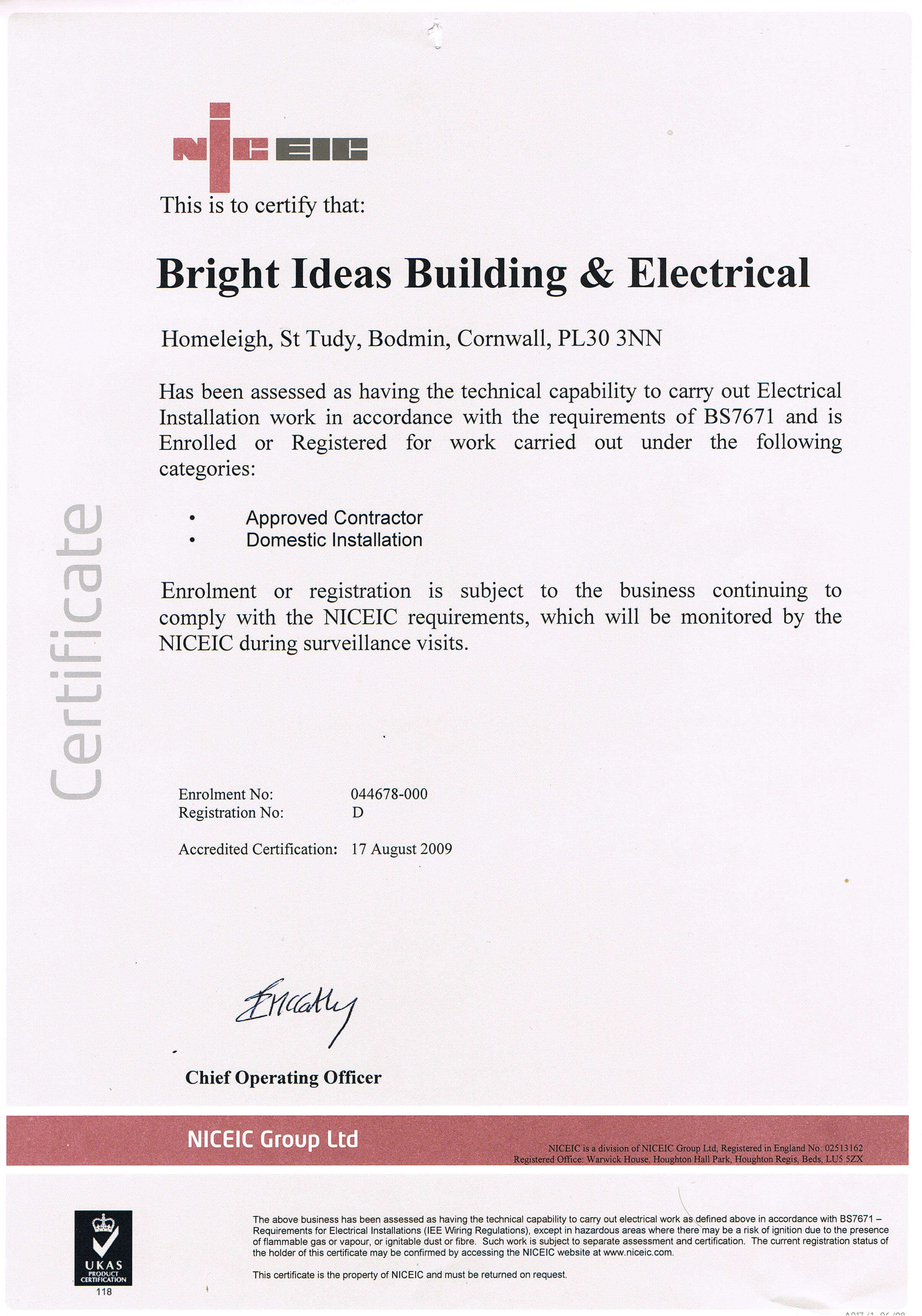 Certificates bright ideas niceic certification xflitez Image collections