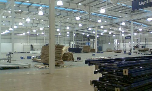 Installing high bay lighting in a retail outlet (2)