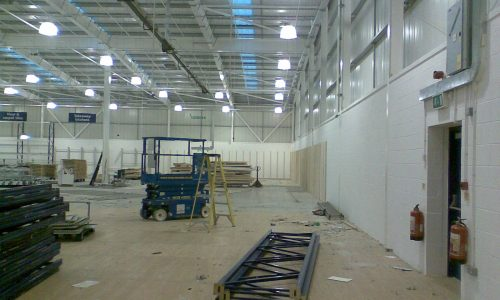 Installing high bay lighting in a retail outlet